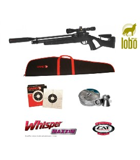 PACK CARABINA GAMO COYOTE BLACK WHISPER PCP + VISOR GAMO 3-9X40 + MONTURA + FUNDA REGALO + BALINES H&N + 100 DIANAS