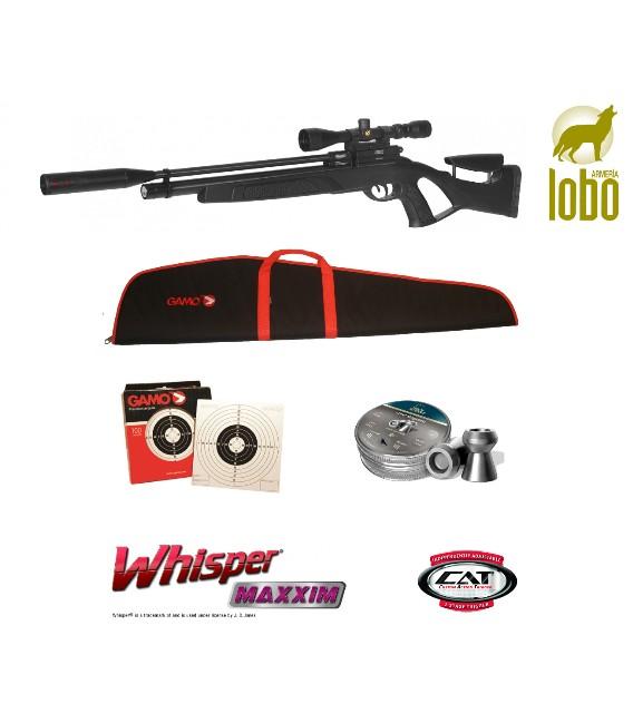PACK CARABINA GAMO COYOTE BLACK WHISPER PCP + VISOR GAMO 4-16X50 + FUNDA REGALO + BALINES H&N + 100 DIANAS