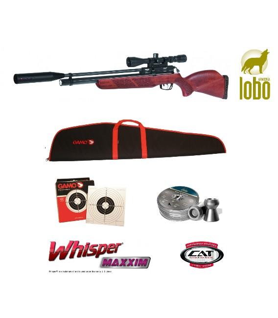PACK CARABINA GAMO COYOTE WHISPER + VISOR GAMO 4-16X50 + FUNDA + BALINES H&N + 100 DIANAS