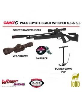 PACK CARABINA GAMO COYOTE BLACK WHISPER+ VISOR GAMO 3-9x40WR + BOMBA GAMO PCP + 1 CAJA BALINES
