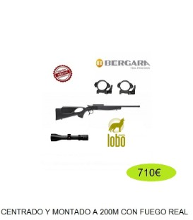 BERGARA BA13 TAKE DOWN THUMBHOLE C/222, 243, 300, 308, 30-06, 45-70GOV + VISOR NIKKO STIRLING 2,5-10X50 + MONTURAS DESMONTABLES