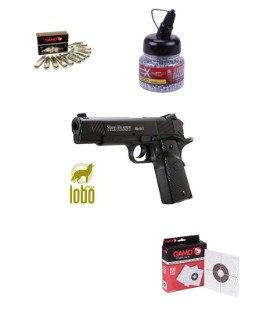 PISTOLA GAMO RED ALERT RD-1911 C/4.5 + 12 BOTELLAS CO2 + 1500 BOLAS BB + 100 DIANAS