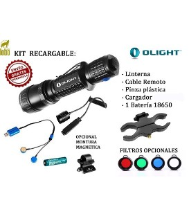 LINTERNA OLIGHT KIT DE CAZA M20SX-UT 820 LUM.KIT REC.NEW 1X18650+CARGADOR UC