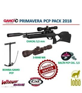 PACK CARABINA GAMO CHACAL C/5,5+VISOR GAMO 3-9x40WR+BOMBA GAMO PCP+1 CAJA DE BALINES