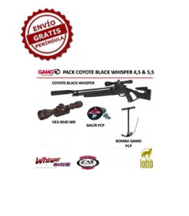 PACK CARABINA GAMO COYOTE BLACK WHISPER + VISOR GAMO 3-9x40WR + BOMBA GAMO PCP + 1 CAJA DE BALINES + 25 DIANAS
