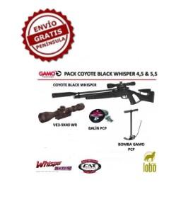 PACK CARABINA GAMO COYOTE BLACK WHISPER + VISOR GAMO 3-9x40WR + BOMBA GAMO PCP + 1 CAJA BALINES