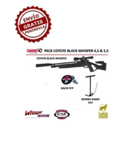 PACK CARABINA GAMO COYOTE BLACK WHISPER+VISOR 3-9x40+BOMBA GAMO PCP+1 CAJA DE BALINES+25 DIANAS