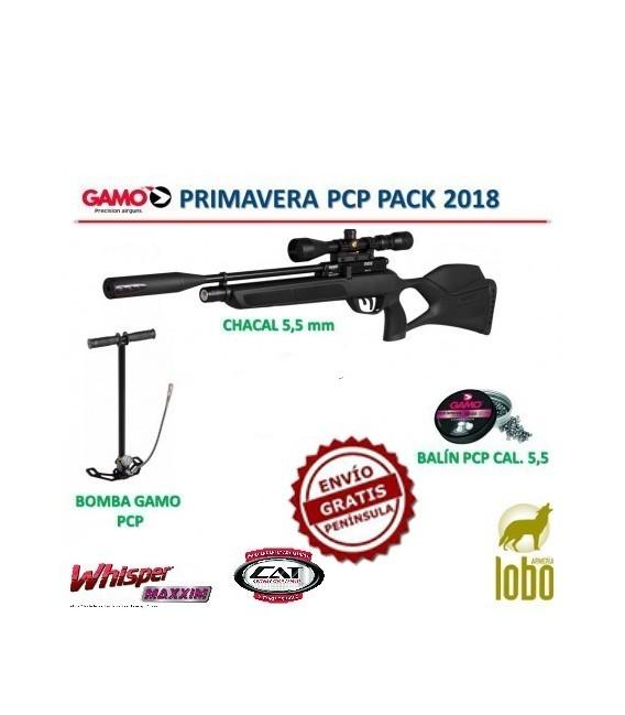 PACK CARABINA GAMO CHACAL C/5,5+VISOR 3-9x40+BOMBA PCP + 1 CAJA DE BALINES + 25 DIANAS (PRODUCTO AGOTADO)